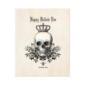 Modern Vintage Halloween skull with crown Canvas Print