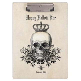 Modern Vintage Halloween skull with crown Clipboard
