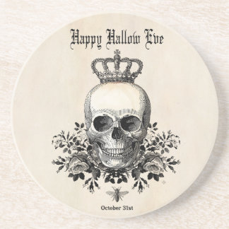 Modern Vintage Halloween skull with crown Coaster