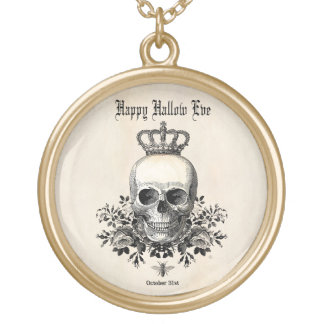 Modern Vintage Halloween skull with crown Gold Plated Necklace