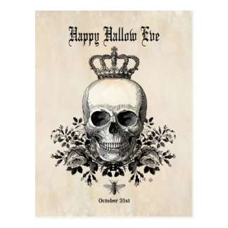 Modern Vintage Halloween skull with crown Postcard