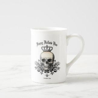 Modern Vintage Halloween skull with crown Tea Cup