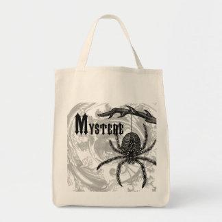 modern vintage halloween tarantula tote bags