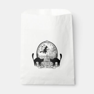 modern vintage Halloween witch and cats Favour Bag