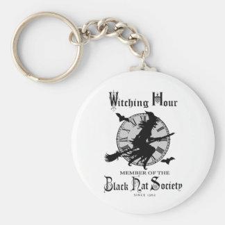 Modern Vintage Halloween witch Basic Round Button Key Ring