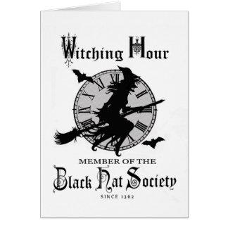Modern Vintage Halloween witch Greeting Card