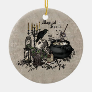 Modern vintage Halloween WITCHES BREW Ceramic Ornament