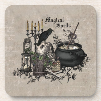 Modern vintage Halloween WITCHES BREW Coaster