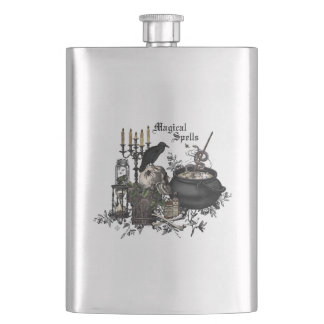 Modern vintage Halloween WITCHES BREW Hip Flask