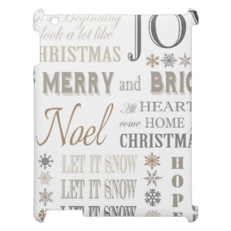 modern vintage holiday phrases cover for the iPad