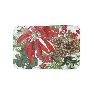 modern vintage holiday poinsettia floral bath mat