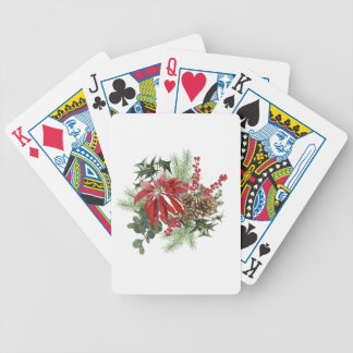 modern vintage holiday poinsettia floral bicycle playing cards