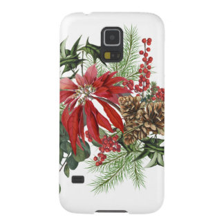 modern vintage holiday poinsettia floral case for galaxy s5