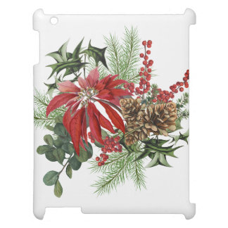 modern vintage holiday poinsettia floral case for the iPad