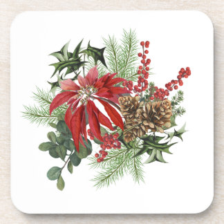 modern vintage holiday poinsettia floral coaster