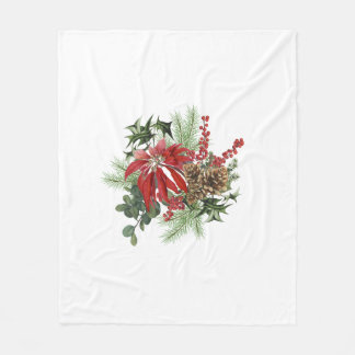 modern vintage holiday poinsettia floral fleece blanket