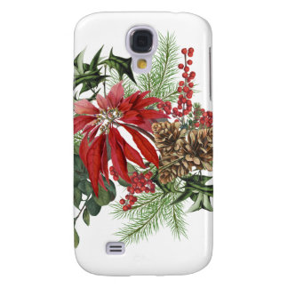 modern vintage holiday poinsettia floral galaxy s4 cover