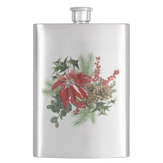 modern vintage holiday poinsettia floral hip flask