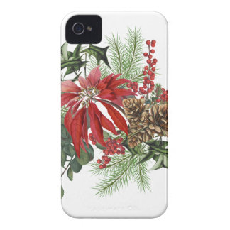 modern vintage holiday poinsettia floral iPhone 4 Case-Mate cases