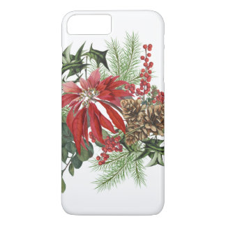 modern vintage holiday poinsettia floral iPhone 8 plus/7 plus case