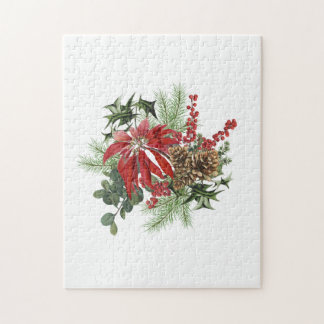 modern vintage holiday poinsettia floral jigsaw puzzle