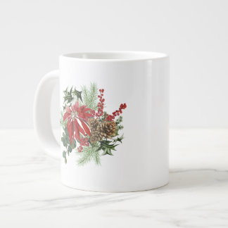 modern vintage holiday poinsettia floral large coffee mug