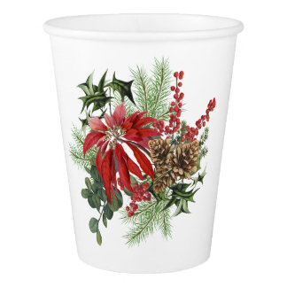 modern vintage holiday poinsettia floral paper cup