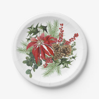 modern vintage holiday poinsettia floral paper plate