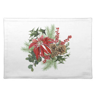 modern vintage holiday poinsettia floral placemat