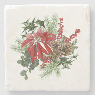 modern vintage holiday poinsettia floral stone coaster