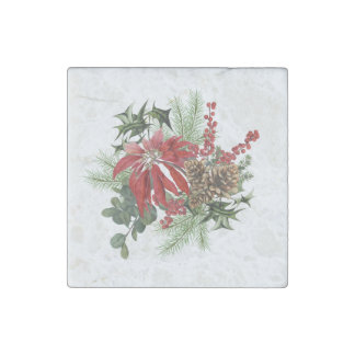modern vintage holiday poinsettia floral stone magnet