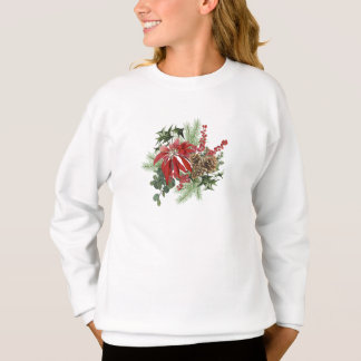 modern vintage holiday poinsettia floral sweatshirt