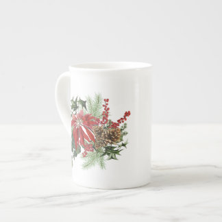 modern vintage holiday poinsettia floral tea cup