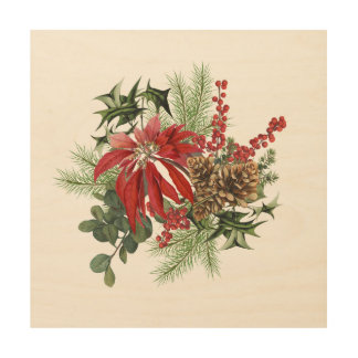 modern vintage holiday poinsettia floral wood wall decor