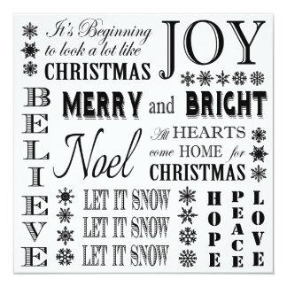 modern vintage holiday words 13 cm x 13 cm square invitation card