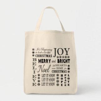 modern vintage holiday words canvas bag
