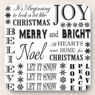 modern vintage holiday words beverage coasters