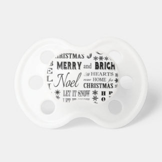 modern vintage holiday words baby pacifier