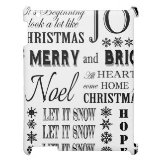 modern vintage holiday words iPad covers