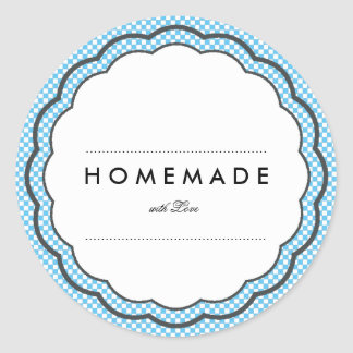 MODERN VINTAGE HOMEMADE WITH LOVE CHECKERED CLASSIC ROUND STICKER