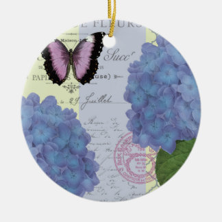 modern vintage hydrangea and butterfly ceramic ornament