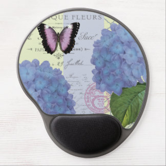modern vintage hydrangea and butterfly gel mouse pad