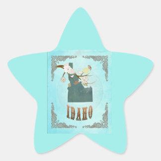 Modern Vintage Idaho State Map – Aqua Blue Star Sticker