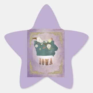 Modern Vintage Iowa State Map- Sweet Lavender Star Sticker