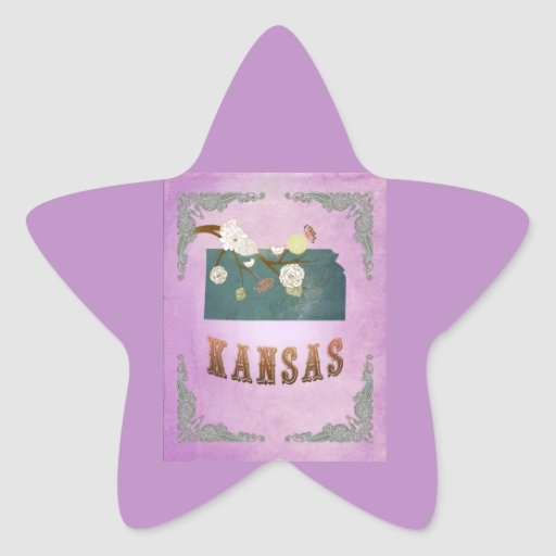 Modern Vintage Kansas State Map- Grape Purple Stickers