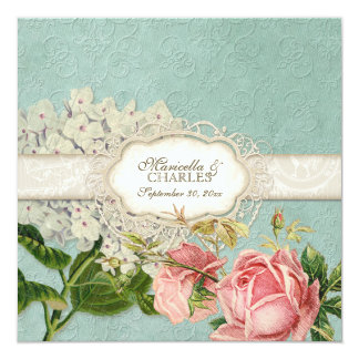 Modern Vintage Lace Tea Stained Hydrangea n Roses Card