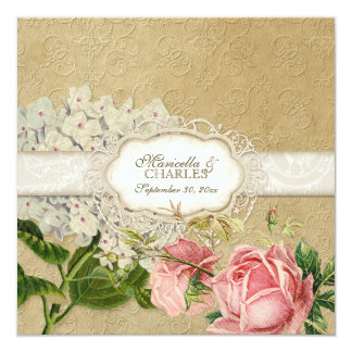 Modern Vintage Lace Tea Stained Hydrangea n Roses Custom Announcements