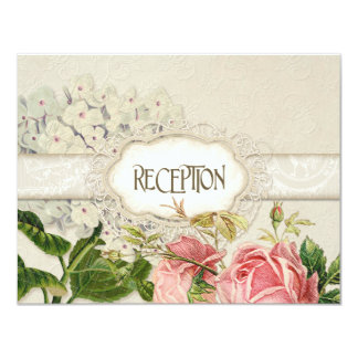 Modern Vintage Lace Tea Stained Hydrangea n Roses Personalized Invite