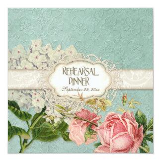 Modern Vintage Lace Tea Stained Hydrangea n Roses Invitation