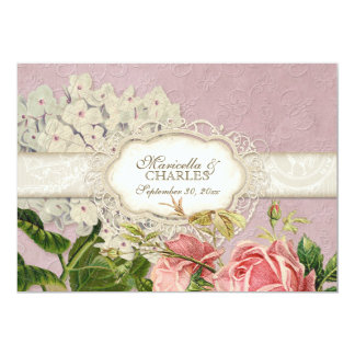 Modern Vintage Lace Tea Stained Hydrangea n Roses Announcements